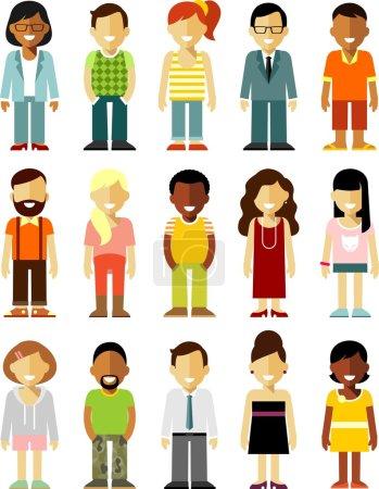 Photo pour Différentes personnes souriantes personnages isolés sur fond blanc - image libre de droit