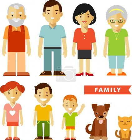 Set of seven family members in flat style