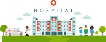 Illustration for Panoramic background with hospital building, doctor, nurse and ambulance car in flat style - Royalty Free Image