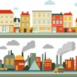 Town and industrial factory panoramic seamless bac...