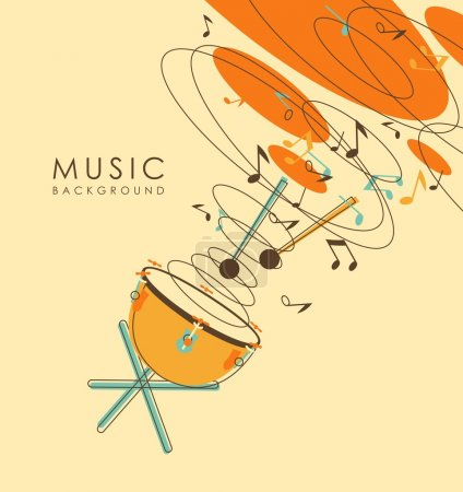 Illustration for Background with percussion musical instruments drum timpani in vintage sketch style - Royalty Free Image