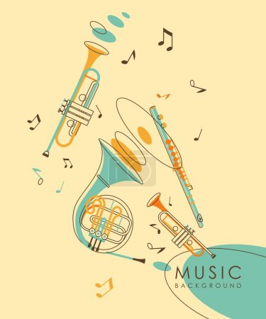 Illustration for Background with wind musical instruments French horn, flute and trumpet in vintage sketch style - Royalty Free Image