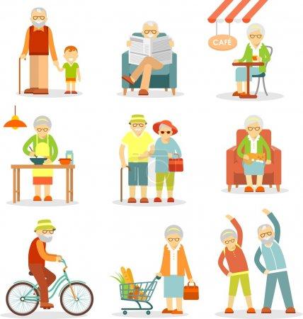 Gruppe alter Menschen in verschiedenen Situationen
