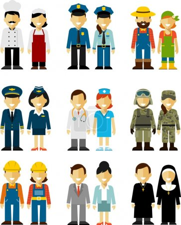 People occupation characters man and woman set in flat style isolated on white background