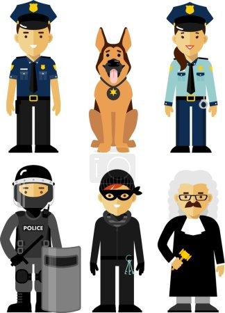 Illustration pour Policier, policière, juge, soldat des forces spéciales, criminel et chien de police debout sur fond blanc dans un style plat - image libre de droit