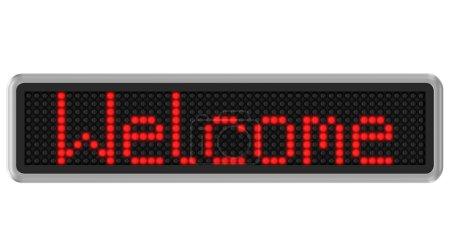 Photo pour Led rouge dot affichage message texte Bienvenue sur fond blanc. Partie d'une série. - image libre de droit