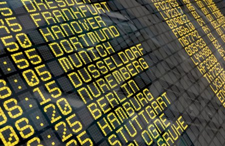 Airport Departure Board with German destinations