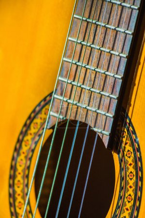 Photo for Acoustic classical guitar. Close-up deck and strings - Royalty Free Image