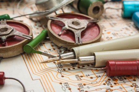 Radio components on electronic circuit