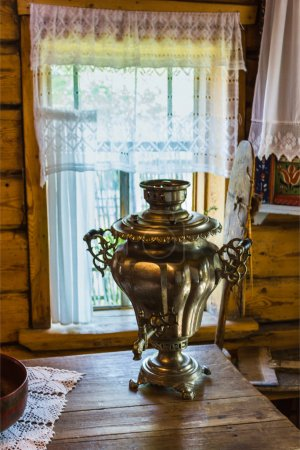Samovar on the wooden table