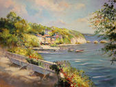 colorful seascape oil painting vintage styled