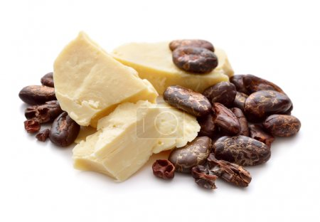 Cocoa butter vith nibs. Isolated on white backgrou...