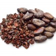 Cocoa Beans with nibs. Isolated...
