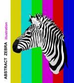 Zebra portrait on abstract bright strips