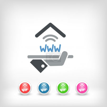 Illustration for Hotel icon. Wi-fi service. - Royalty Free Image