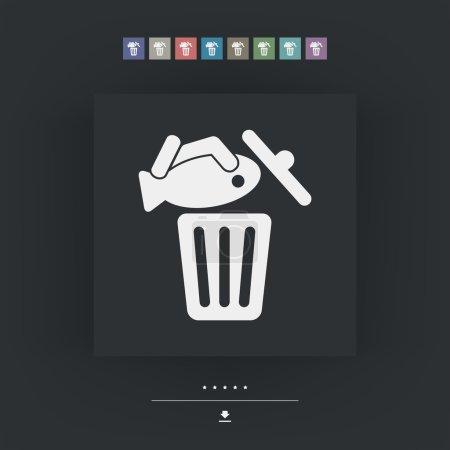 Illustration pour Icône poubelle alimentaire - image libre de droit