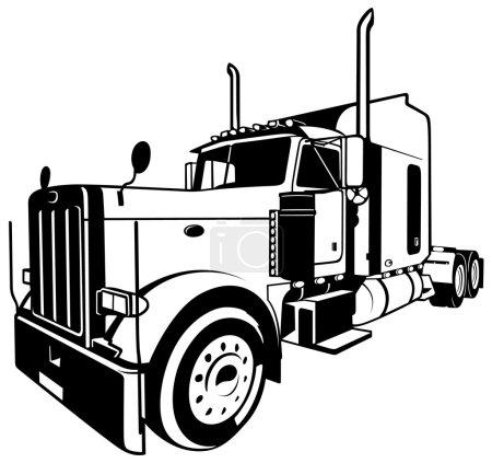 Illustration pour Camion américain - Illustration contour noir, vecteur - image libre de droit