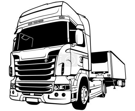 Illustration pour Camion remorque - Illustration contour noir, vecteur - image libre de droit