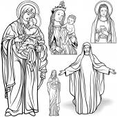 Virgin Mary Set - Black and White Outlined Illustrations Vector