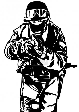 Illustration for Special Police Forces - Black and White Illustration, Vector - Royalty Free Image