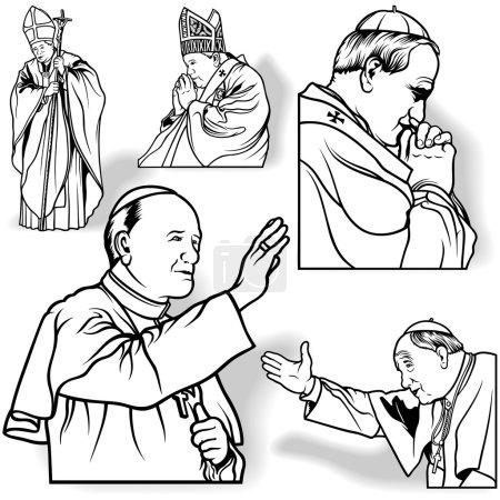 Illustration pour Ensemble du Pape - Illustrations esquissées, vecteur - image libre de droit