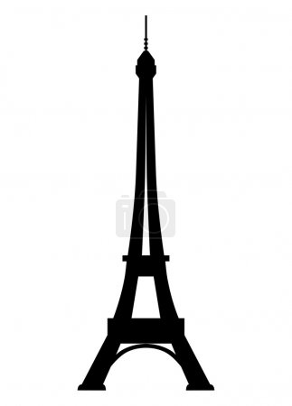 Illustration for Black silhouette of the Eiffel Tower on a white background - Royalty Free Image