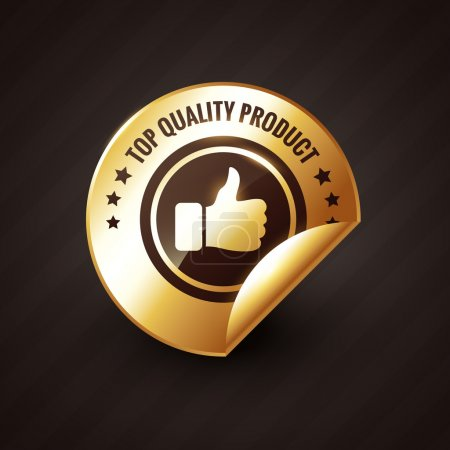 Illustration for Top quality product design with thumbs up golden label design - Royalty Free Image