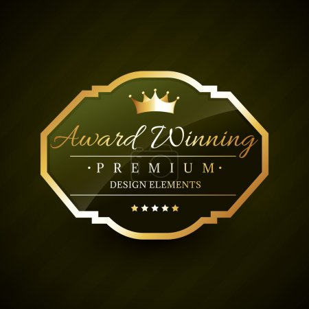 beautiful award winning golden label vector