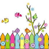 Cartoon birds on a fence