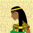 Ancient Egyptian woman profile over a background w...