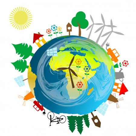 Illustration for Ecological concept with Earth globe and alternative energy sources - Royalty Free Image