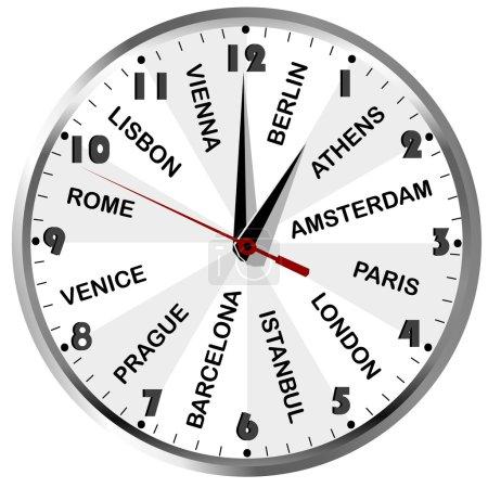 Photo pour Horloge murale avec les noms de villes européennes pour l'agence de voyage - image libre de droit