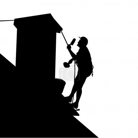 Worker on the house roof