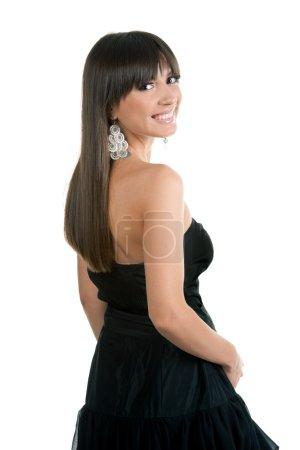 Photo pour Belle fille brune sexy posant sur fond blanc - image libre de droit