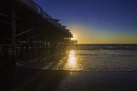 Photo for Sunset at pacific beach pier, san diego, california - Royalty Free Image