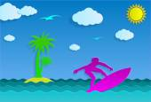 Surfing at sea and a tropical island