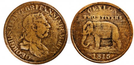 Ceylon 1815, two stivers, King George III, reverse Elephant