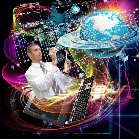 Engineering designing communications connection technologies.Creation innovative technology future