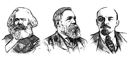 Marx, Engels and Lenin illustration on white backg...