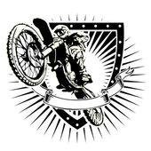 Motocross vector illustration on the shield
