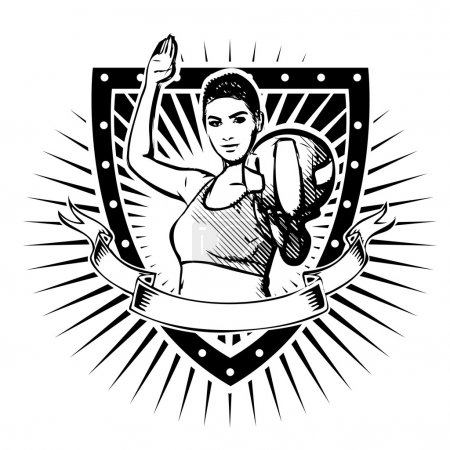 Illustration for Woman volleyball player on the shield - Royalty Free Image