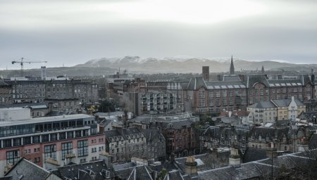 Photo for View from Edinburgh castle on Royal Mile street, Scotland, Great Britain - Royalty Free Image