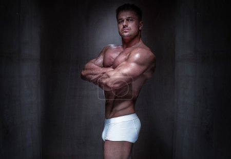 Muscular Man Wearing White Boxer Shorts