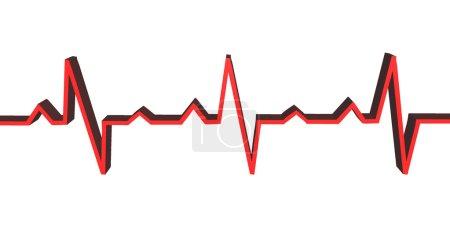 3d heart beat line