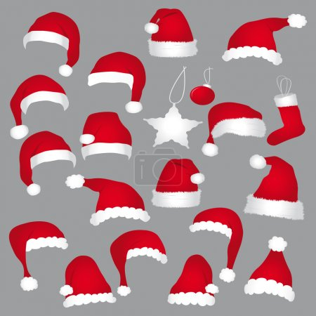 Santa caps and christmas decorations. Vector icons set.