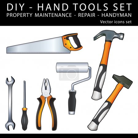 Illustration for DIY Handy tools for property maintenance, repair and handyman work. Vector icons set. - Royalty Free Image