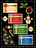 Christmas icons and greeting cards set Vector collection
