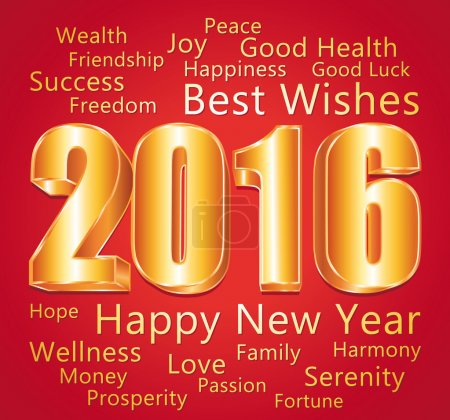 2016. Happy new year and best wishes. Red and gold greeting card.