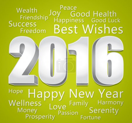 2016 Happy New Year. Best wishes. Green and silver greeting card.