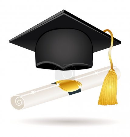 Illustration for Graduation cap and diploma. Vector icon. - Royalty Free Image